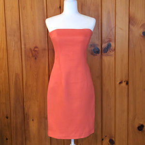 Coral Form fitting size 8 vintage dress Strapless